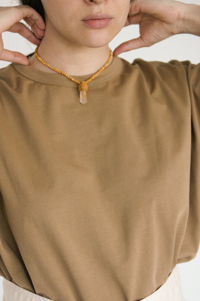 Robin Mollicone Pendulum Necklace in Lithium Quartz / Crazy Lace Agate on model view