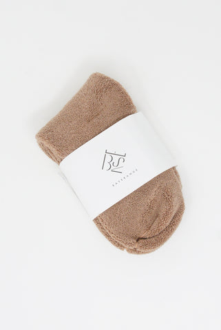 Baserange Buckle Overankle Socks - Longstaple Cotton in Tan