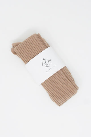 Baserange Overknee Socks - Cotton in Tan