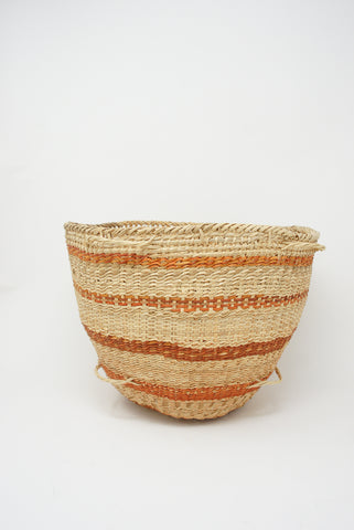 Incausa Wii Basket - Urucum Painting in Natural with Orange Stripe side view