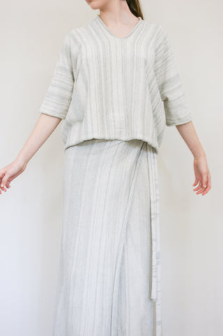 Lauren Manoogian Horizontal Huipil in Marl Stripe on model view front