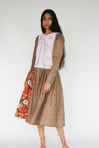 Bettina Bakdal Cotton Laura Dress in Brown on model view front