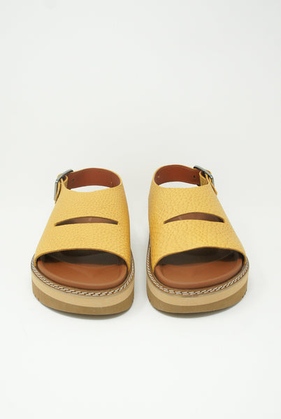 Sofie D'Hoore Fame Sandal - Natural Tumbled Grain Leather in Amber front view