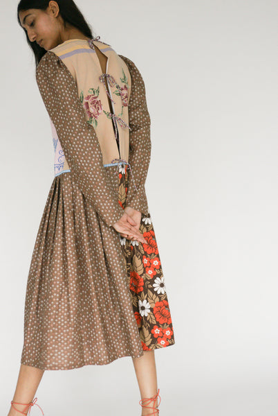 Bettina Bakdal Cotton Laura Dress in Brown on model view back