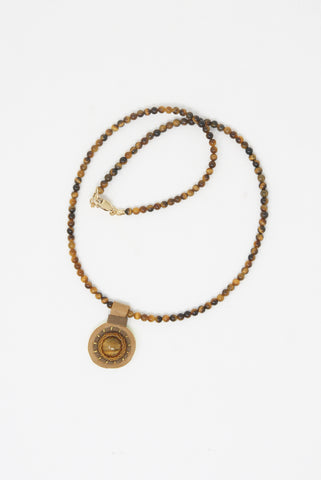 Robin Mollicone Charm Necklace in Tiger Eye