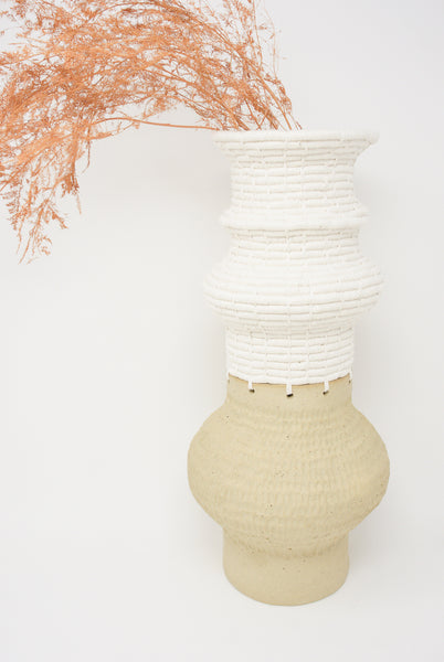 Karen Tinney Vessel #721 in Tan/White with flowers side view