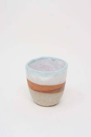Shino Takeda Tea Cup in Light Blue/Cream/Orange/Rust
