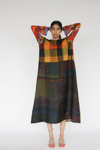 Bettina Bakdal Vintage Scarves Dress in The Plaid Dress on model view front