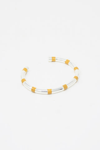 Abby Carnevale Striped Cuff in Silver Plated Brass - Yellow Oxcide / Silver