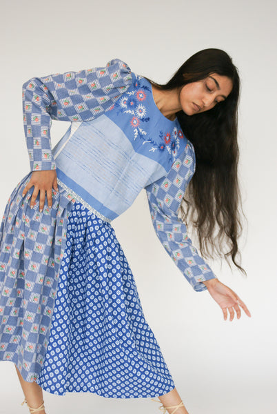 Bettina Bakdal Cotton Laura Dress in Blue on model view front