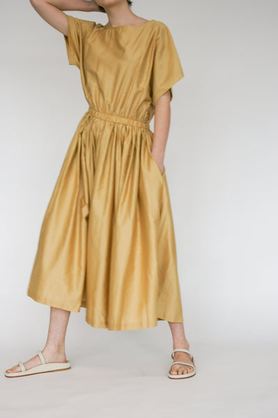 Black Crane Pleated Dress in Tan on model view front