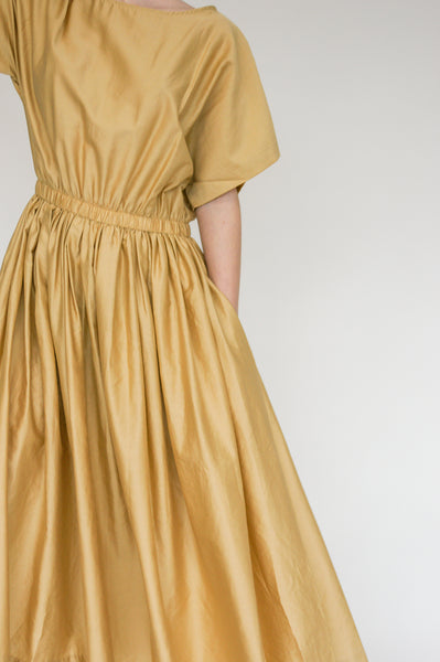 Black Crane Pleated Dress in Tan on model view back