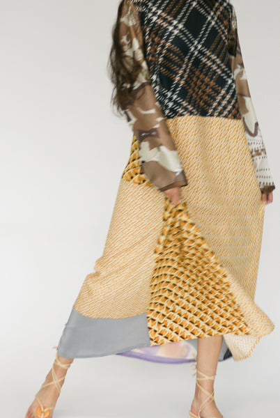 Bettina Bakdal Vintage Scarves Dress in The Toffee Dress on model view front