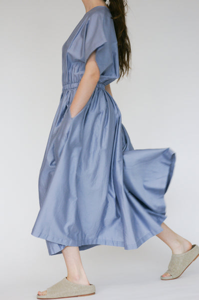 Black Crane Pleated Dress in Lavender on model view side