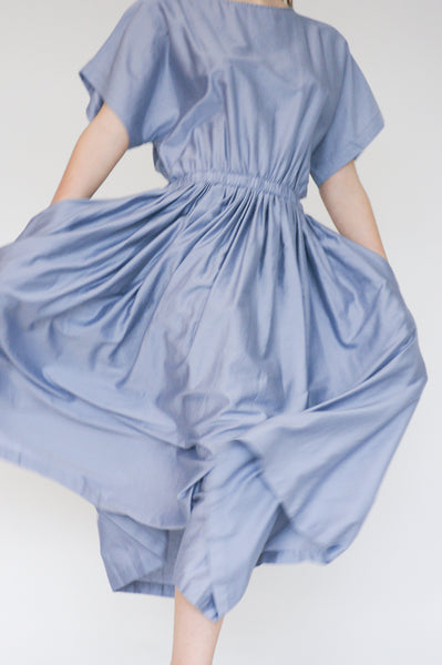 Black Crane Pleated Dress in Lavender on model view front