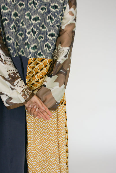 Bettina Bakdal Vintage Scarves Dress in The Toffee Dress back and sleeve detail view