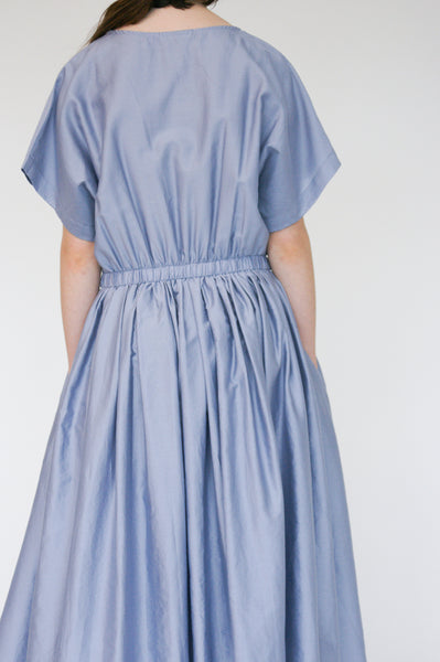 Black Crane Pleated Dress in Lavender on model view back