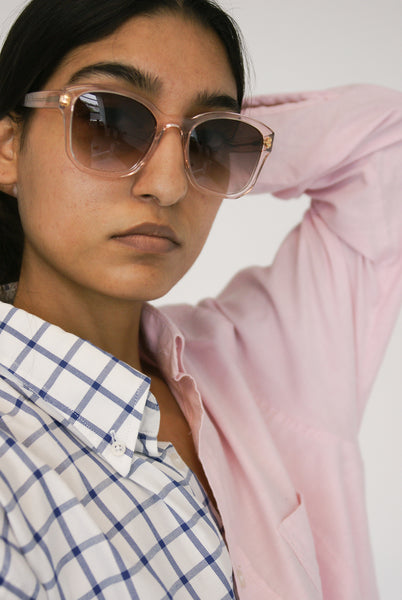 Eva Masaki Sunglasses BQE in Rose on model view