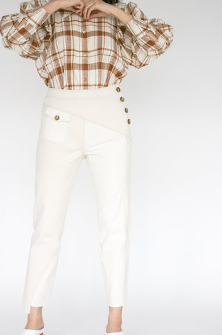 Rejina Pyo Lucie Trousers in Ivory Mix front view