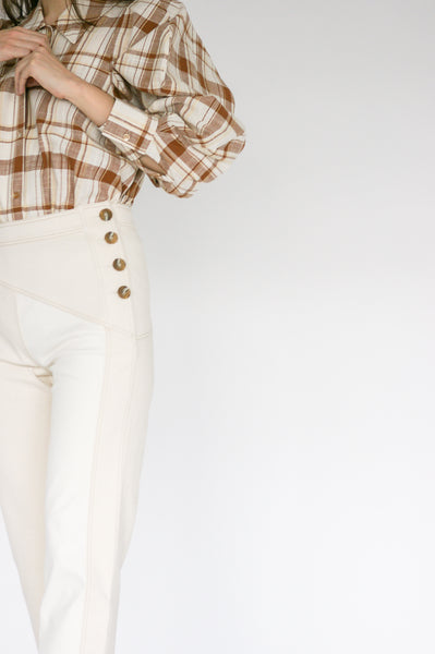 Rejina Pyo Lucie Trousers in Ivory Mix side button detail