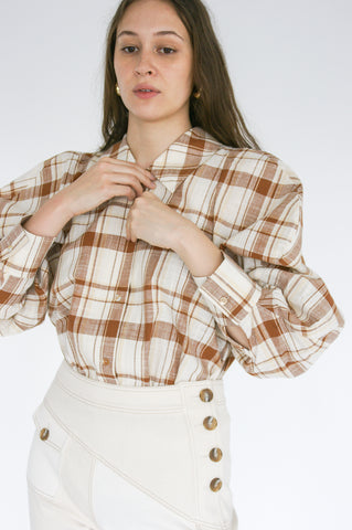 Rejina Pyo Julia Shirt in Brown Check on model view front