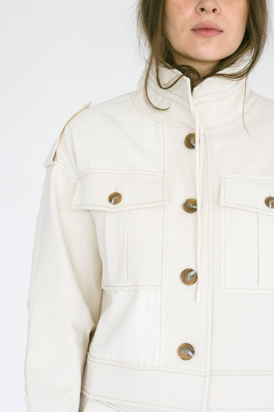 Rejina Pyo Carly Jacket in Ivory Mix collar detail
