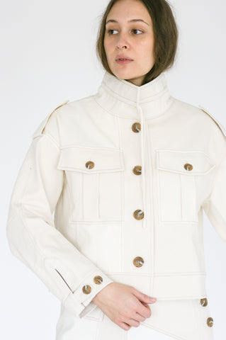 Rejina Pyo Carly Jacket in Ivory Mix on model view front