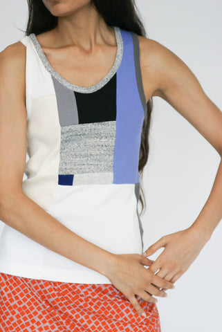 Correll Correll Momo Tank in Light Beige, Grey, Periwinkle patchwork detail view