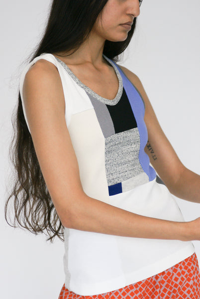 Correll Correll Momo Tank in Light Beige, Grey, Periwinkle on model view side