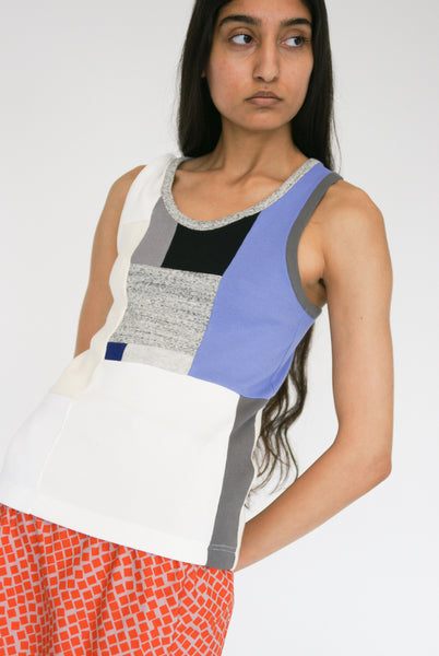 Correll Correll Momo Tank in Light Beige, Grey, Periwinkle on model view front