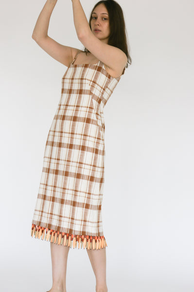 Rejina Pyo Emilia Dress in Brown Check on model view side