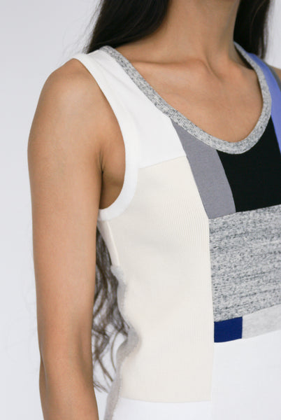 Correll Correll Momo Tank in Light Beige, Grey, Periwinkle side detail view