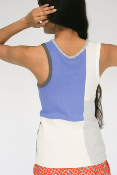 Correll Correll Momo Tank in Light Beige, Grey, Periwinkle on model view back