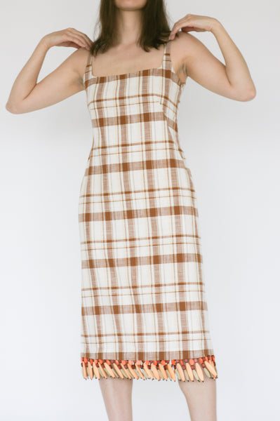 Rejina Pyo Emilia Dress in Brown Check on model view front