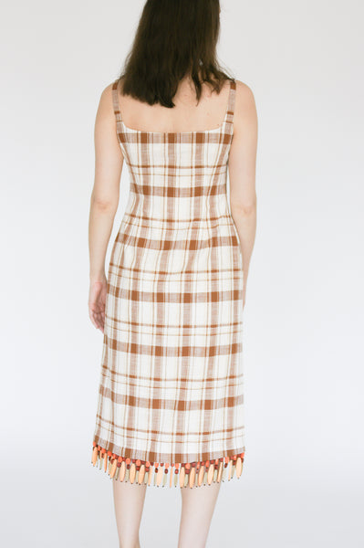 Rejina Pyo Emilia Dress in Brown Check on model view back