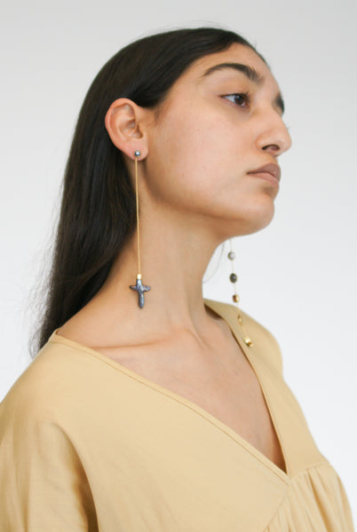 Grainne Morton X-Long Mismatched Chain Drop Earrings on model view