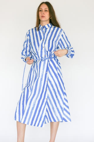 Rejina Pyo Maddie Dress in Blue Stripe front view