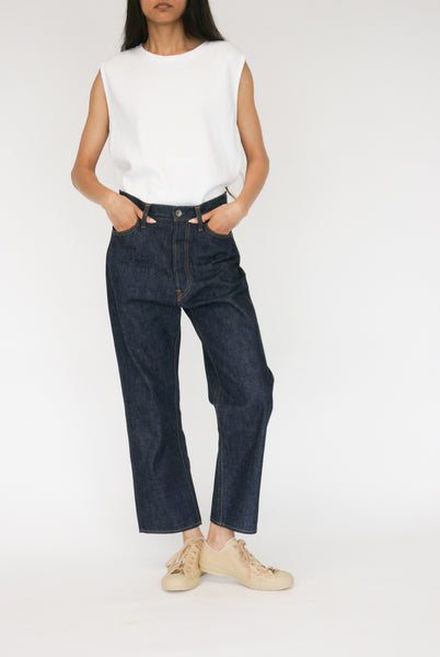 Chimala Selvedge Denim Wide Tapered Cut on model view front