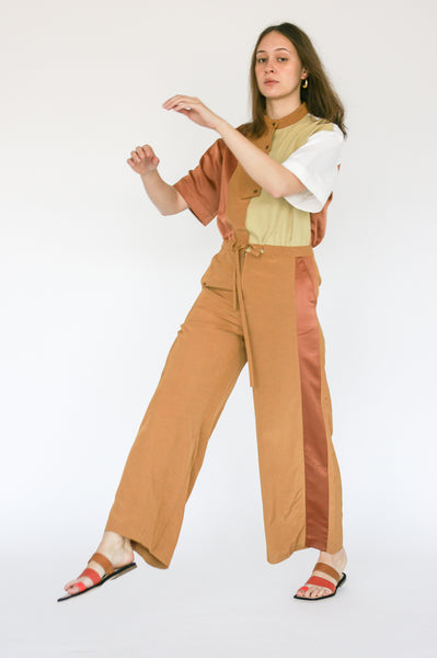 Millie Jumpsuit in Caramel on model view side