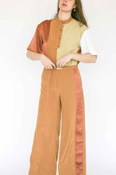 Millie Jumpsuit in Caramel on model view front