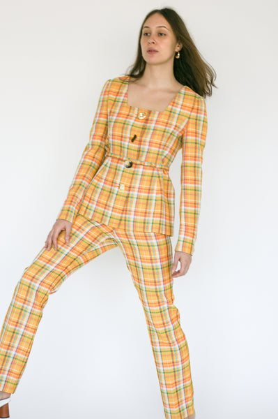Rejina Pyo Norma Trousers in Yellow Check on model view front