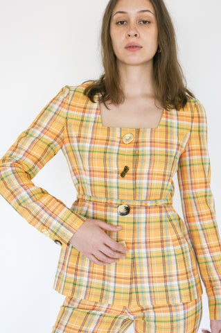 Rejina Pyo Martina Jacket in Yellow Check belt and button detail