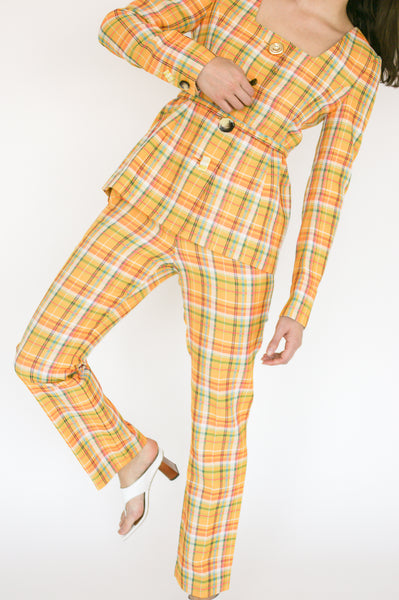 Rejina Pyo Norma Trousers in Yellow Check front view