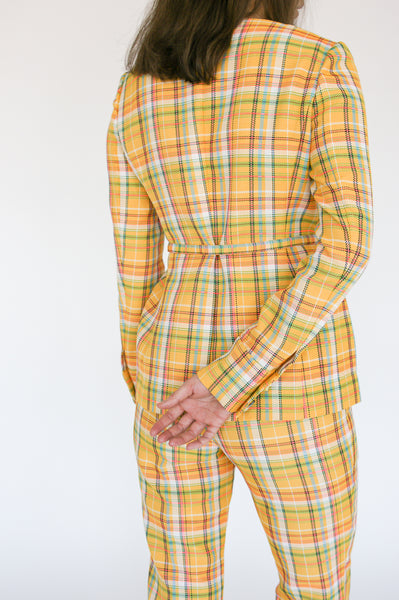 Rejina Pyo Norma Trousers in Yellow Check back view