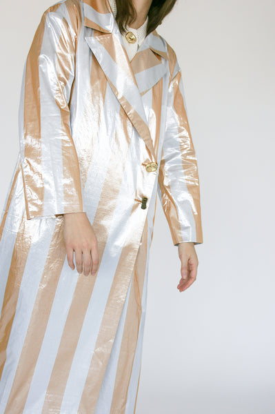 Rejina Pyo Ida Trenchcoat in Metallic Stripe button detail