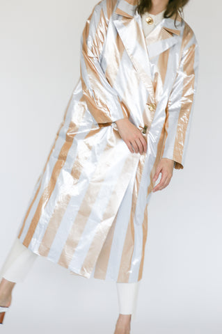 Rejina Pyo Ida Trenchcoat in Metallic Stripe front view