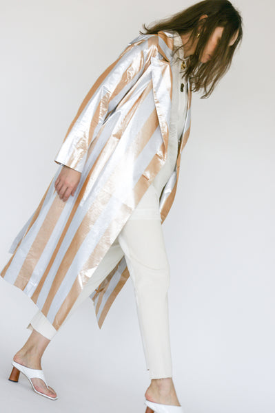 Rejina Pyo Ida Trenchcoat in Metallic Stripe side view