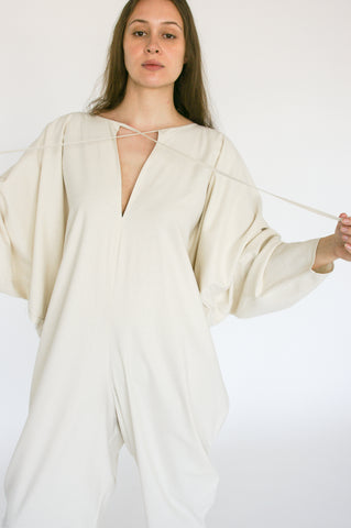 Baserange Fortunata Jumpsuit Raw Silk in Ecru on model view front