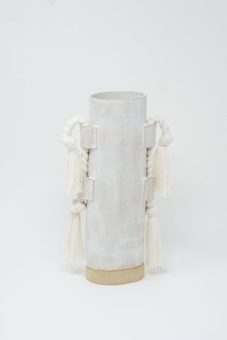 Karen Tinney Vase #504 in White/Natural front view