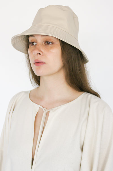 Clyde Lambskin Ebi Bucket Hat in Bone
